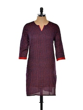 Navy Blue And Red Printed Long Kurta - Nanni Creations