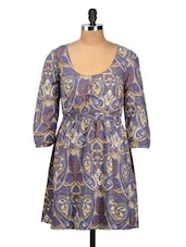 Printed Blue Polyester Dress - Oxolloxo