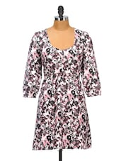 Floral Print Polyester Dress - Oxolloxo