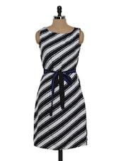 Monochrome Diagonal Striped Dress - Eavan
