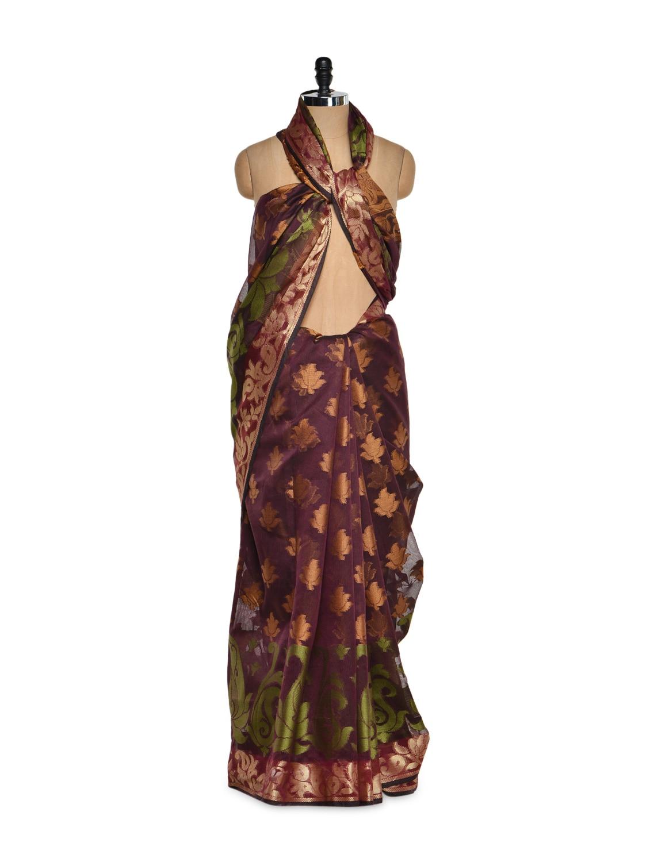 Wine Cotton Silk Saree With Zari Work - Bunkar