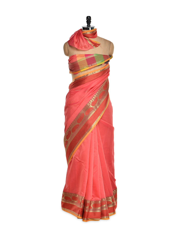 Coral Cotton Silk Saree With Zari Work - Bunkar