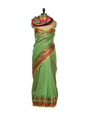 Green Cotton Silk Saree With Paisley Border - Bunkar