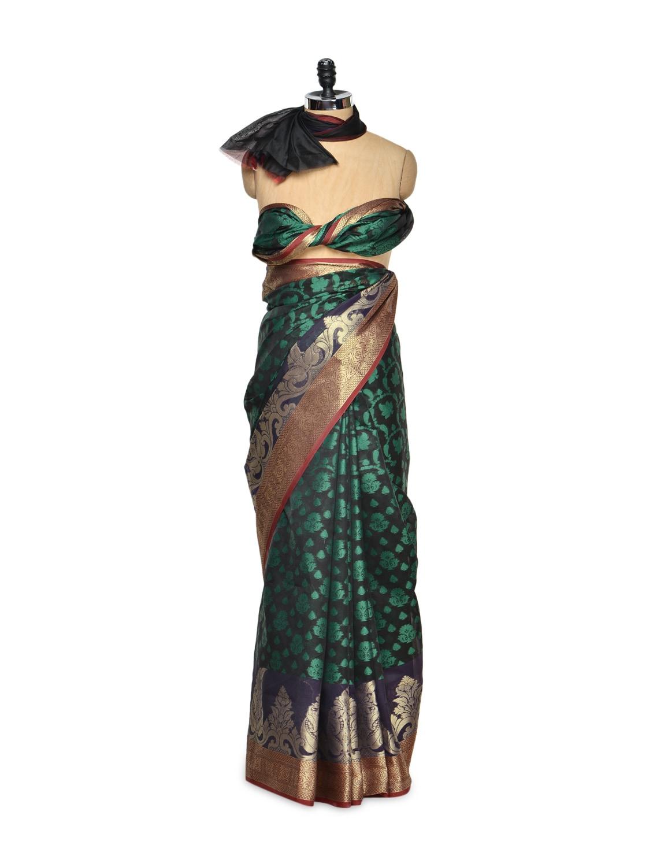 Green And Black Cotton Silk Saree With Zari Work - Bunkar