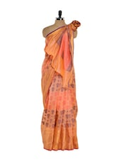 Peach Cotton Silk Saree With Jacquard Work - Bunkar
