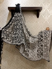 Statement Black & White Chikankari Saree - By