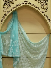 Regal Powder Blue Chikan Saree - Ada