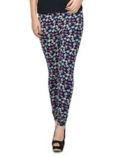 Navy Blue Floral Print Leggings - By