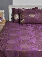 Purple And Gold Floral Double Bed Cover Set - Natraj