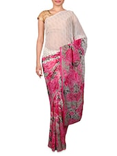 White And Pink Floral Printed Chiffon Saree - Fabdeal