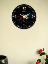 Black Wall Clock With Abstract Hands Pattern - Regent