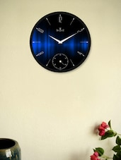 Gleaming  Black Wall Clock With Blue Illusion Pattern - Regent