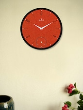 Black Wall Clock With Orange Textured Dots - Regent