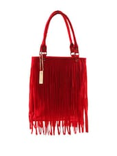 Stylish Red Fringe Tote Bag - Miss Chase