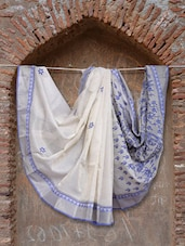 Off White And Blue Chikankari Saree - Ada