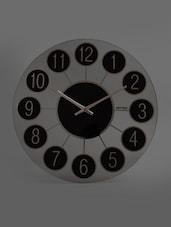 Black Retro Round Glass Wall Clock - Rhythm