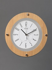 Buff Brown Modern Art Deco Wall Clock - Rhythm