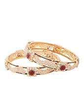 Yellow Gold Plated Kada With Maroon Stones - Voylla