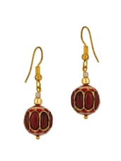 Red And Golden Ethnic Jadau Beads Earrings - Voylla