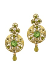 Gold Plated Danglers Studded With Green Crystals - Voylla