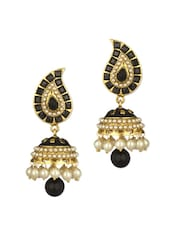 Gold Plated Danglers With Crystals - Voylla