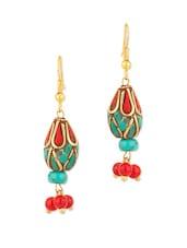 Gold Plated Wood Drop Earrings - Voylla