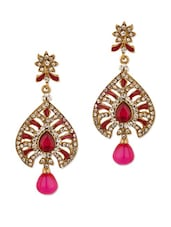 Gold Plated Leafy Charm Earrings - Voylla
