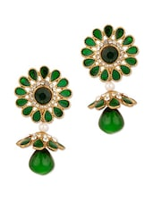 Gold Plated Green Floral Earrings - Voylla