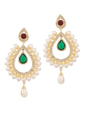 Gold Plated Pearl Tear Drop Earrings - Voylla