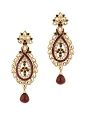 Gold Plated Kundan Encrusted Earrings - Voylla