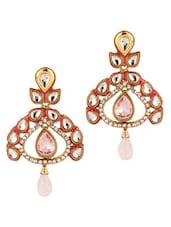 Orange Gold Plated Leafy Design Earrings - Voylla