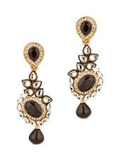 Gold Plated Kundan Floral Drop Earrings - Voylla
