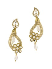 Gold Plated Jhumki With White Crystals