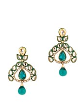 Gold Plated Leafy Design Earrings - Voylla