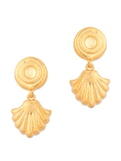 Gold Plated Round Drop Earrings - Voylla