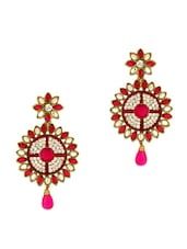 Gold Plated Round Floral Earrings Embellished With Magenta Enamel Work - Voylla