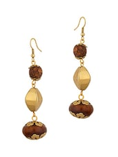 Gold Plated Antique Brown Beaded Earrings - Voylla