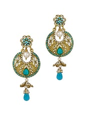 Gold Plated  Blue Dangler Drop Earrings - Voylla