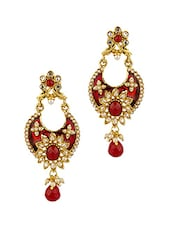 Gold Plated Floral-Crescent Earrings - Voylla