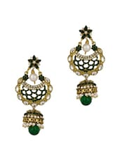 Gold Plated Crescent Jhumki Drop Earrings Studded With Cz Stones - Voylla