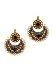 Gold Plated Earrings With Meenakari Work And Pearl Beads - Voylla