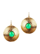 Circular Gold Plated Earrings Studded With Green Onyx - Voylla