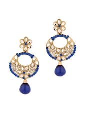 Gold Plated Blue Crescent Floral Earrings Studded With Kundans And Stones - Voylla