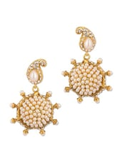 Charming Gold Plated Earrings With CZ And Pearl Beads - Voylla