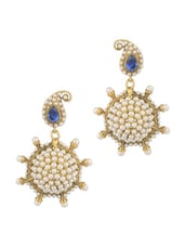 Gold Plated Paisley Dangler Earrings With Blue Colour Stone And Pearl Beads - Voylla