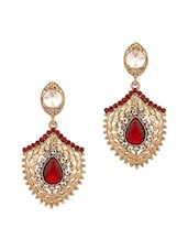 Gold Plated Dangler Earrings With Red Crystal - Voylla