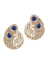 Gold Plated  Paisley Design Earrings With Blue Stones - Voylla