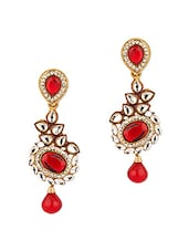 Kundan Encrusted Red Floral Drop Earrings With Gold Plating - Voylla