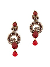 Fabulous Gold Plated Stone Studded Earrings - Voylla