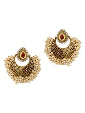 Fabulously Designed Gold Plated Earrings With Pearls - Voylla